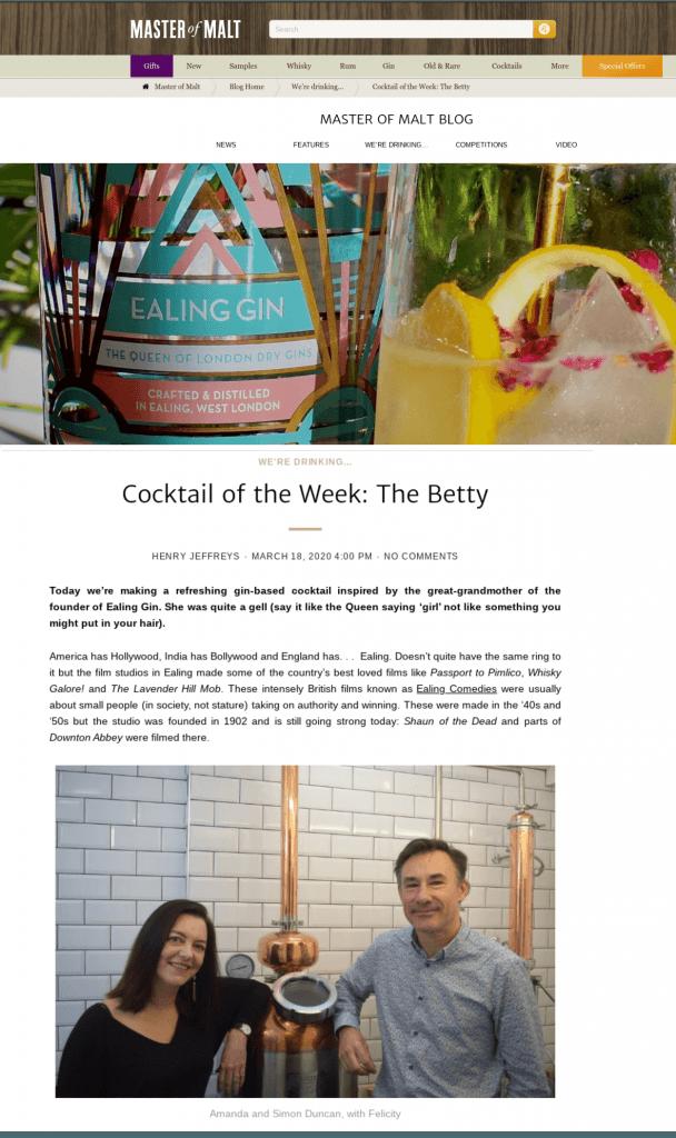 Ealing Gin Master of Malt Cocktail of the Week