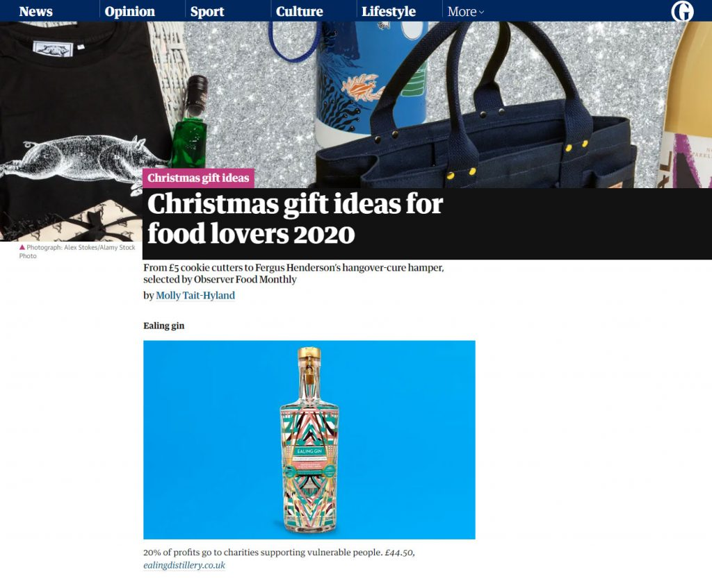 Ealing Gin in The Observer Gift Guide